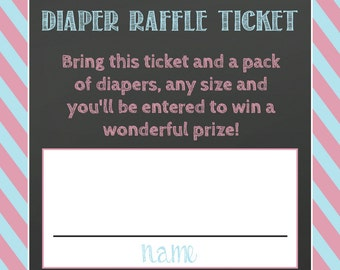 DIAPER RAFFLE TICKET match invite gender reveal party joint shower