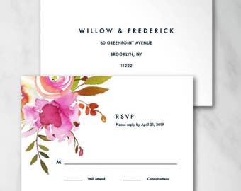 Watercolor Reply Card | Digital RSVP Card | Printed RSVP Card | Printed or Digital Reply Card | Watercolor Floral Wedding Modern 18009
