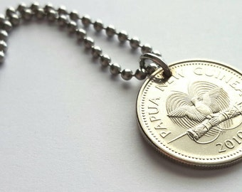 2010 Papua New Guinea Coin Necklace  - Stainless Steel Ball Chain or Key-chain