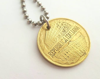 1996 Italian Coin Necklace  - Stainless Steel Ball Chain or Key-chain