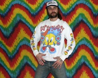 Vintage Tweety Bird Looney Tunes Crewneck Sweatshirt. White 90s Tweety Bird Crewneck Sweatshirt. 90s White Hip Hop Looney Tunes Crewneck