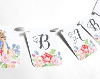 Baby Shower Banner Garland, Peter Rabbit, Floral, BABY