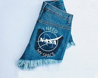 I Need My Space Shorts  - Patched Shorts - High waisted shorts - jean shorts - distressed shorts - ripped shorts - shorts - high waisted