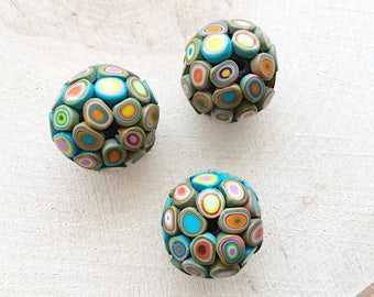 Polymer clay beads, 3 round big beads, handmade jewelry supply, fimo beads, perfect for necklace
