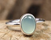 925 Solid Sterling Silver Handcrafted Natural Oval Cabochon Blue Aqua Chalcedony, Artisan Gemstone Handmade Stack, Stacking, Stackable Ring