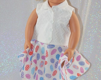 """18"""" doll clothes  handmade to Fit like American Girl, White Blouse Easter print Full Skirt/Shorts and Pink Sandals Free Shipping"""