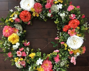 "Zinnia Front Door Wreath 18"" base"