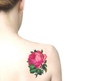 Rosa rosa tatuaggio temporaneo grande / tatuaggio illustrazione floreale / fiori vintage tatuaggio temporaneo / tatuaggio da spalla schiena