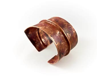 Foldformed Copper Bracelet Cuff - Torch Patina Fold Formed Foldforming - Rustic Tribal Folk Earthy Warrior - Forged Hammered Textured