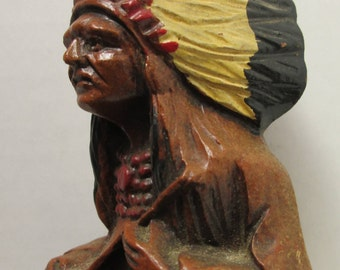Vintage Native American Indian Chief Ashtray Souvenir of Niagara Falls  American Indian Indigenous People tobacciano smoking collectible