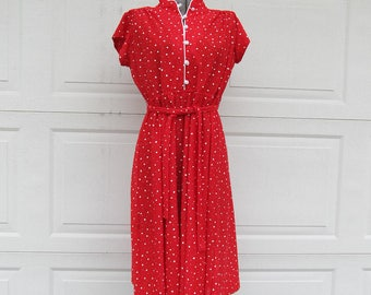 1970s womens red dress with tiny white squares, vintage shirt dress, red shirtwaist dress, polka dot, S