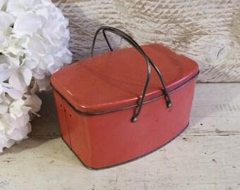 SALE reg 58.00 Vintage Pink Tin Box, Lunchbox, Lunch Box, 1930s, Antique Tin Box,  Wonderful Curved Shape, Retro Kitchen, Cottage Chic