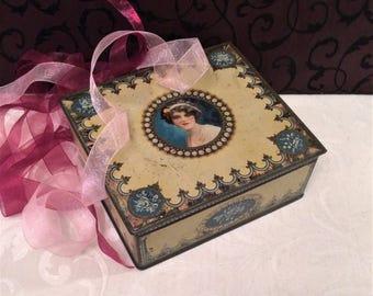 Pretty Lady Flapper Romantic Antique Tin Box, c 1920, Cream Blue, Roses, Trinket Box, Vintage Tin Box