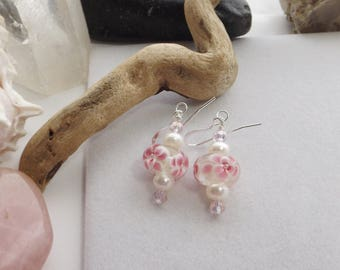 Spring, Summer, Drop, Dangle Pink, White Lampwork Glass, Pearls, Crystal Earrings with Silver Findings for Weddings, Mother's Day, for Her