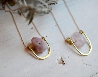 L O V E R - Kunzite OR Rose Quartz Gemstone Necklace