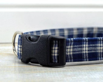 Blue Plaid Dog Collar,  Adjustable Dog Collar  for Large Dogs, Medium Dogs, and Small Dogs.