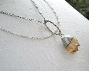 Raw Citrine Necklace,  Citrine crystal necklace,  Raw Crystal Necklace,  citrine Pendant, November Birthstone necklace, Tiffany method