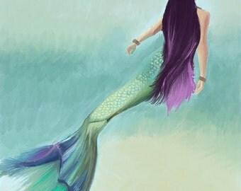 Digital Mermaid Art Print