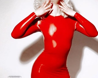 Latex Long Sleeve Micro Mini Dress / Top