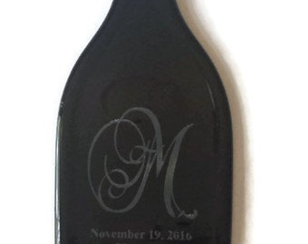 Special order for Kirby & Ron - wedding registry gift - Personalized wedding gift, laser etched wine bottle, dark amber etched bottle