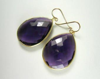 Large Purple African Amethyst Earrings, Gold Vermeil Bezel Set, Teardrop Earrings, 14k Gold Filled, February Birthstone, Statement Earrings