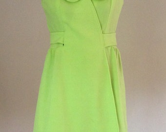 1960s Vintage Lime Green Sleeveless Polyester Knit Wrap Dress