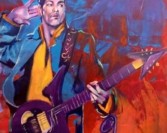 "Prince Purple Rain Poster 12""x18"" Musician Guitar Celebrity Print Wall Art Colorful Abstract Pop Art"