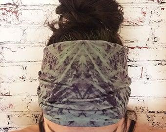 Extra Wide Yoga Headband - Tie Dye - Teal Blue & Dark Purple