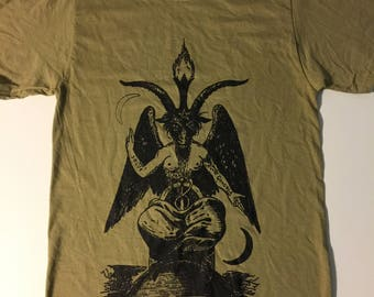 BAPHOMET Khaki Men's T shirt  Satanic Witchcraft Evil Satan Occult