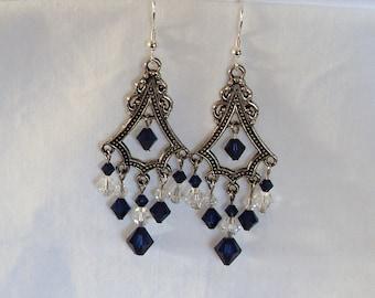 Crystal & Dark Indigo Chandelier Earrings