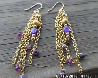 Gold and purple dangle earrings with gold plated post and bead