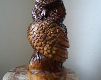 Hand carved Wood owl - Wood Owl - Bird sculpture - Wooden bird - Black walnut Owl - Owl decor - Wood sculpture - Original artwork - Owl art