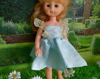 "BLUE SILK PARTY Dress for 8""-9""/20-22cm dolls like Ginny, Kripplebush Kids, Madame Alexander,  Middle Blythe, Riley Kish"