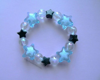 Blue and Black Crystal Star Bracelet -Kawaii- Gothic- Pastel Goth- Gothic Lolita- Sweet Lolita-JFashion- Harajuku- Fairy Kei- Creepy Cute