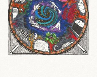 ANSICHTKAART van originele kunst / MANDALA tekenen met mier eters & nachtelijke hemel, vieren de symmetrie van dit prachtige zoogdier in felle kleuren.