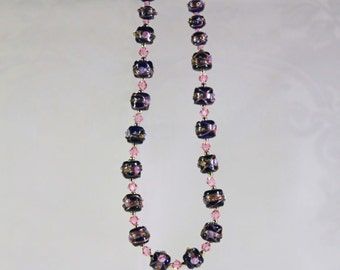 Cobalt blue wedding cake lampwork and pink crystal necklace
