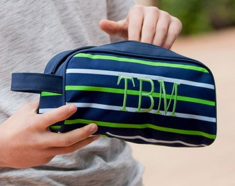 Shoreline Toiletry Bag with Monogram, Navy Stripe Travel Bag, Personalized Travel Bag, Boys Pencil Bag, Back to School Pencil Case