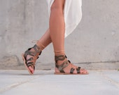 Lace Up Sandals, Olive Green Metallic Leather Sandals, Flat Shoes, Mid Rise Sandals, Boho Sandals, Bohemian Green Leather Sandals, Women