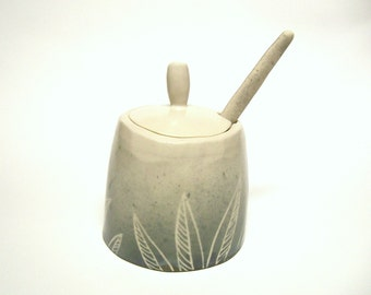 Sugar Jar with Willow Leaves Design, Pottery Honey Pot Ready to ship