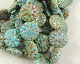 Czech Beads, Czech Glass Flower Beads - Turquoise Picasso Dahlia Flower Bead (FL14/N-1054) - 14mm - Qty. 10