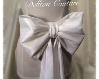 Large White Taffeta Bridal Bow Bridal Belt / Sash Belt