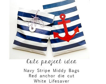 """25 - Navy Stripe Middy Bags - 5"""" x 7.5"""" - Nautical Blue and White - Party Favors, Gift Wrap, Treat Bags"""
