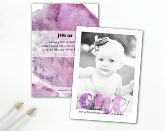 First Birthday Purple Watercolor Invitation, Girls, Photo Invitation, Amethyst, Watercolors, 1st Birthday, Printable or Printed Invitation