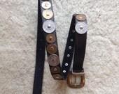Ginnie Johansen Designs Womens Black Leather Belt  /  Mexico Centavos Coin Ladies Belt  /  Ladies Leather Belt  /  Cheapvintagefashion
