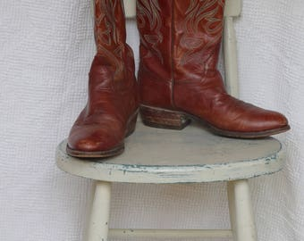 Brown Leather Feather Stitched 'Tony Mora' / Made in Spain Cowboy Boots - Men's 10 1/2