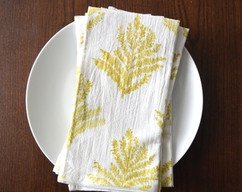 Cotton Napkins, Botanical Napkins, Block printed napkins, gift for mom, Cloth Napkins, Cotton Flour Sack Napkins, Set of 4