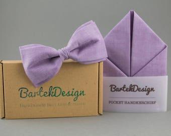Violet Bow Tie Violet Pocket Square Violet Matching Set Purple Bow Tie for Men Lilac Bow Tie Lilac Pocket Square Purple Handkerchief Lilac