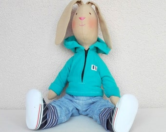 Stuffed bunny doll Kids toys Bunny Big soft bunny toy with removable clothes Tilda doll Cloth doll Animal Dolls Stuffed bunny toy Fabric toy