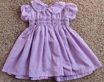 Purple Peter Pan Collar Dress Baby Girl 12 months Easter