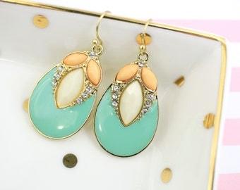 Mint and Peach Earrings, Bridesmaid Earrings,  Bridal Earrigns, Mint Peach Earrings, Style No. 6006